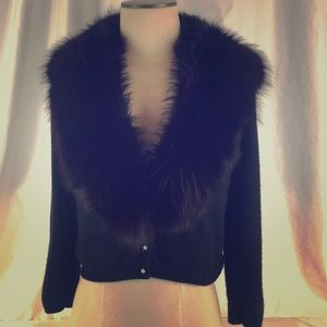 Cashmere Sweater with real Fur Stole Sz S